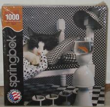 Springbok 1000 Piece Jigsaw Puzzle Black and White CHECKERBOARD CAT Kitten USA