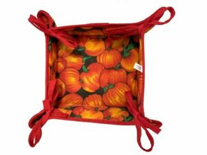 22cm, Reversible Fabric Bread Basket 100% Cotton FIG s Foldable Basket