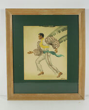 Rare Airbrush Painting by Gill California Art Hawaiian Art Deco Figurative 1940