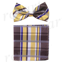 New Men's Pre-tied Bow tie & hankie brown yellow plaids & checkers formal