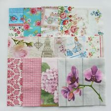 Lot of 12 Paper Napkin For Decoupage 33  x  33 sm flower set Crafts