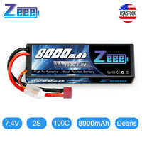 8000mAh 7.4V 100C 2S Deans Plug Hardcase LiPo Battery for RC Car Truck Buggy