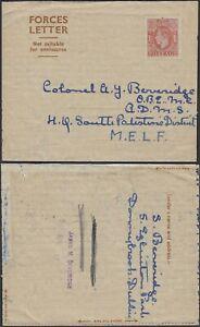 Palestina 1947-Postal stationary on GB Military Letter to Palestina.(VG) MV-9867