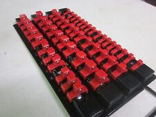"49pc RED CLIPS 10-5/8""L SOCKET TRAY HOLDER ORGANIZER 1/4"" 3/8"" 1/2"" 4 RAILS"