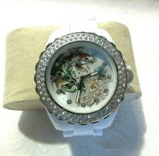 Rare Ed Hardy White Band Swarovski Crystal Watch VERY NICE LOT W1