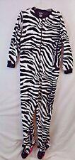 Womens L Nick Nora Zebra footed pajamas one piece footie fleece Large