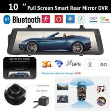 "10"" Rear View Mirror Reverse Camera Wireless Dual Lens Car DVR GPS Navigator"