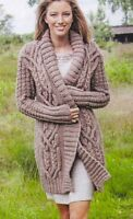 (558) Chunky Knitting Pattern Ladies Celtic Cable Jacket/ Coat