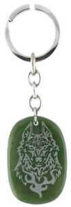 Genuine Natural Green Nephrite Jade Etched Wolf Keychain