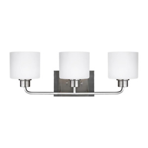 Vanity Lighting 3-Light Dimmable Etched Glass Shade Damp Rated Bushed Nickel