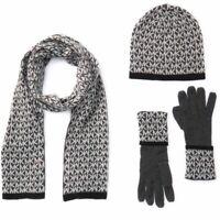 NWT $98 Michael Kors MK Logo Gift Box Set Scarf Gloves Hat Gray & Black
