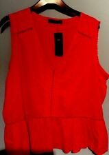 BNWT LADIES M&S COLLECTION TOP, PURE COTTON, SIZE 20, RED ,LACE