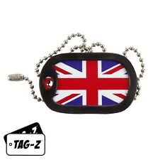 Military Dog Tag Necklace -  British Flag - Union Jack with a Dog Tag Silencer