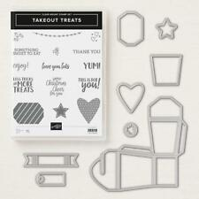 STAMPIN UP TAKEOUT TREATS STAMP SET & THINLETS DIES BUNDLE NEW VALENTINE'S DAY