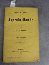 Klinische Monatsblätter Augenheilkunde Monoyer ophtalmologie optique médecine