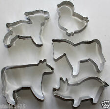 FARMYARD Animal COOKIE CUTTER SET Farm pig cow lamb horse chick STAINLESS STEEL
