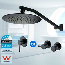 """WELS 9"""" Round Shower Head Rose Up Down Adjustable Wall Arm Mixer Tap Set Black"""