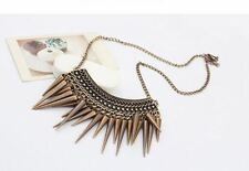 New Womens Vintage Retro Punk Spike Rivet Tassel Chain Short Choker Necklace UK