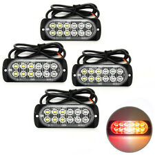4X 36W Super Bright Red/Amber 12 LED Emergency Warning Flash Strobe Light Bar