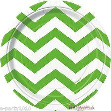 KIWI LIME GREEN CHEVRON SMALL PLATES (8) ~ Baby Shower Birthday Party Supplies