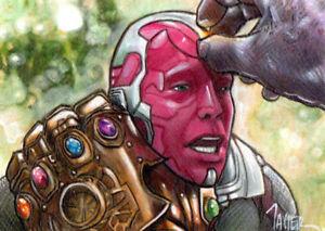 Avengers The VISION & THANOS ENDGAME Marvel SKETCH Card ORIGINAL PSC ART