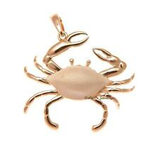 ROSE GOLD PLATED 925 STERLING SILVER HAWAIIAN BLUE PINCHER CRAB PENDANT 31MM