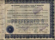Cumberland National Bank of Bridgeton Stock Certificate New Jersey