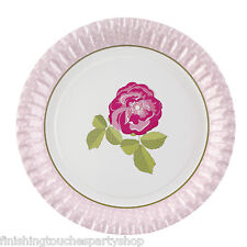 Vintage Rose Paper Plates Shabby Chic Perfect for Tea Parties Weddings