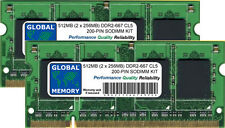 512MB (2 x 256MB) DDR2 667MHz PC2-5300 200-PIN SODIMM MEMORY RAM KIT FOR LAPTOPS