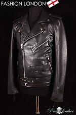 Mens BRANDO SLIM-FIT Leather Jacket Black Lambskin Smart Bikers Leather Jacket
