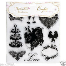 "Papermania 'confetti' clear stamps 9 on 8x8"" sheet. love birds, cupcakes, roses"