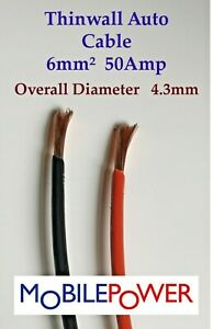 6mm² Thin wall Auto Camper Cable 53a 12v 24v  Red or Black By the Metre