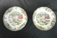 "Vintage The Friendly Village Johnson Bros Set Of 2 ""Ice House"" Saucers Floral"
