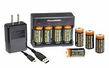 Power2000 CR123A 1200mAh LifePO4 8-Pack Rechargeable Batteries & Charger Kit