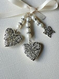 Wedding Bouquet Photo Charm Double Silver Filigree Locket with butterfly charm