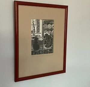 Breakfast Cats  Wood Engraved Print By Hilary Whyard 1985 In 8 X10 Frame D 4