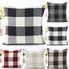"JF_ KE_ 18x18"" Plaid Soft Throw Pillow Cover Case Cushion Covers Sofa Bed Car"