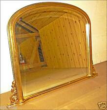 GOLD TONE  FIRE PLACE  ROCOCO OVER MANTLE SHELF LARGE BEVELED MIRROR