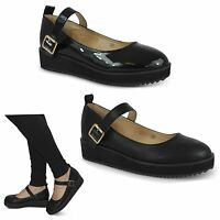 NEW WOMENS LADIES MARY JANE FLAT CASUAL SMART WORK PUMP COURT SHOES SIZE 3-8