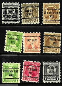 Precancel Collection Different 1-9 Cent 1932 Washington Bicentennial Issue US 65
