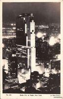 Postcard RPPC Radio City at Night New York NY