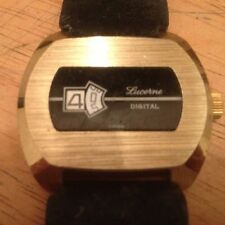 Lucerne Black And Gold Direct Read Windup Jump Hour Metal Watch Mint 1970s