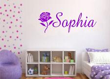 WALL ART STICKER GIRLS PERSONALISED NAME ROSE FLOWER BEDROOM HOME DECOR