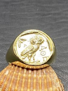 SIGNET RING ANCIENT COIN WITH GODDESS ATHENAS OWL GOLD PLATED