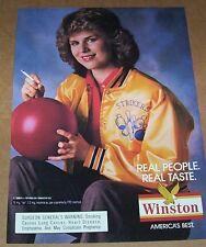 1988 print ad - Winston Cigarettes bowling bowler girl smoking vintage Ad Page