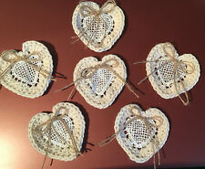 Crochet Lace Heart with hessian twine bow
