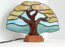 Artisan Made Flat Panel Stained Glass Tree Lamp Signed J