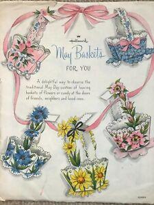 Vintage paper craft, 1960s pre-cut American May baskets kit in original envelope
