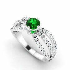 1.20 Ct Genuine Emerald Engagement Ring 14K White Gold Diamond Rings Size N 01