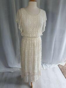 Romantic Lace Boho Dress Ivory Summer Xs Maxi Dress